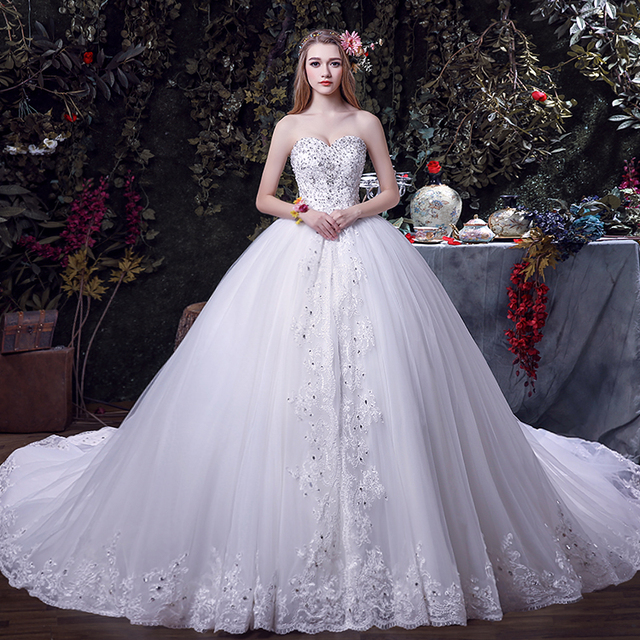 New Style Wedding Dresses 2017 In : New long wedding dress sweetheart neck off the shoulder ball gown