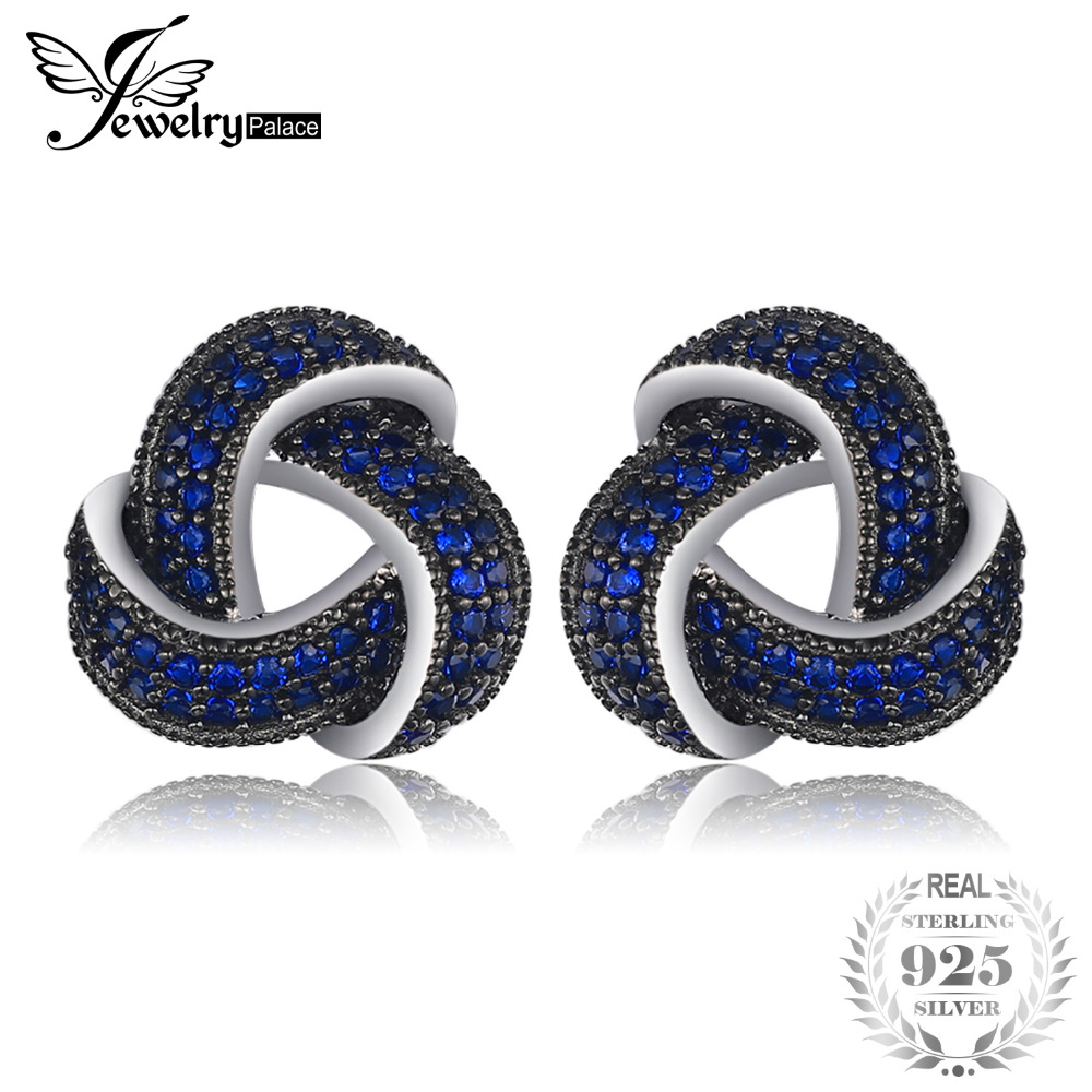 SmyckenPalace Blomma 0.6ct Skapat Blå Spinel Studs Örhängen Äkta 925 Sterling Silver Trendiga Örhängen För Kvinnor Smycken