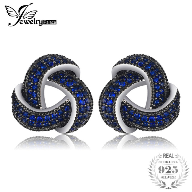 JewelryPalace Flower 0.6ct Created Blue Spinel Studs Earrings Genuine 925 Sterli