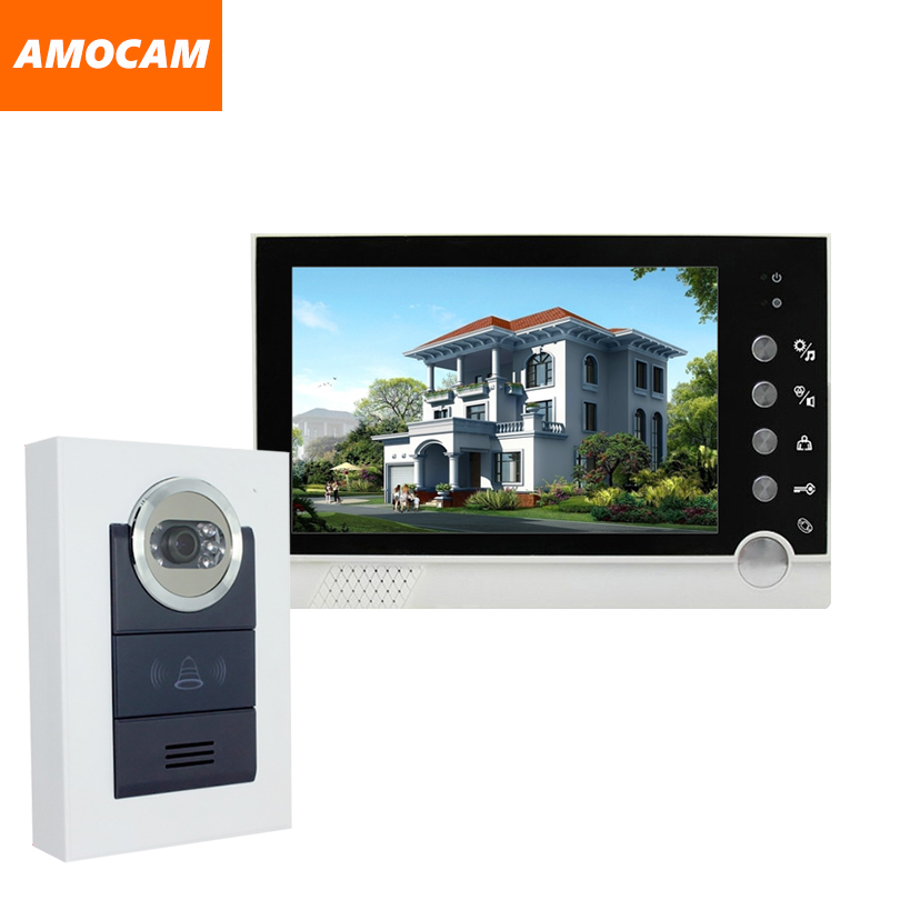 7 color monitor Wired Video Door Phone Intercom Doorbell system Night Vision Camera for Villa home office homefong villa wired night visual color video door phone doorbell intercom system 4 inch tft lcd monitor 800tvl camera handfree