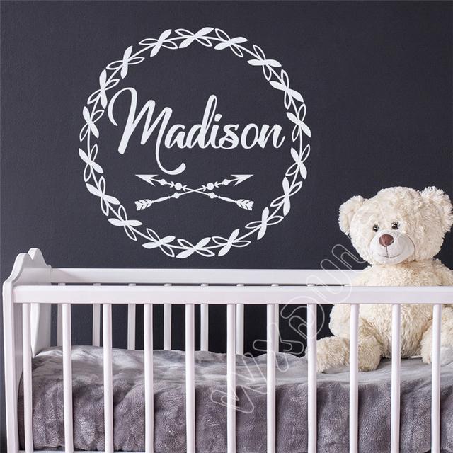 WXDUUZ Name Wall Decal Arrow Decal Rustic Nursery Room Decor Vinyl Girl Name Art Wall Sticker & WXDUUZ Name Wall Decal Arrow Decal Rustic Nursery Room Decor Vinyl ...
