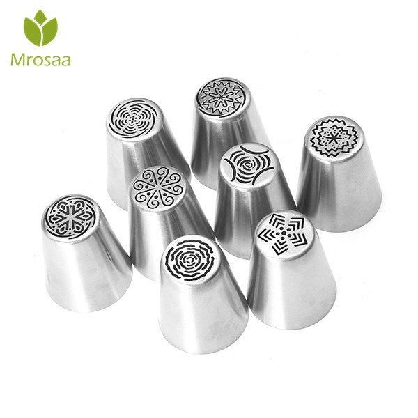 8Pcs//set Stainless Steel Pipping Nozzles Tip Pastry Tube Set Cake Cookie Biscuit