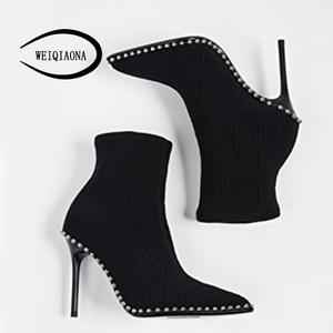 Image 5 - SHUNRUYAN 2018  Brand Design Vintage Rivet Women Shoes Winter Shoes Short Boots High Heels Pointed Toe Party Shoes Ladies Shoes