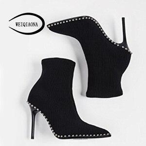 Image 5 - Shunruyan 2018 Brand Design Vintage Klinknagel Vrouwen Schoenen Winter Schoenen Korte Laarzen Hoge Hakken Puntschoen Party Schoenen Dames Schoenen