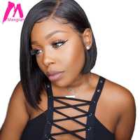 Maxglam Korte Lace Front Menselijk Haar Pruiken 13x4 Lace Front Pruik Braziliaanse Haar Bob Pruik Voor Zwarte Vrouwen preplucked
