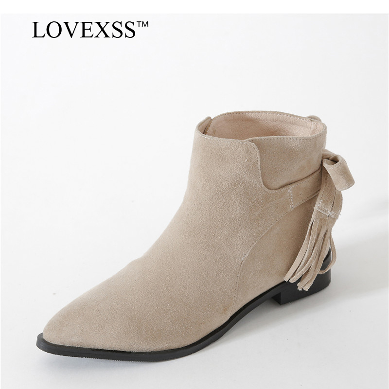 LOVEXSS Woman Pointed Toe Ankle Boots Black Beige Autumn Winter Butterfly Boots Fashion Sheepskin Genuine Leather Chelsea Boots lovexss woman genuine leather ankle boots autumn winter high heeled shoes fashion plus size 32 43 black work chelsea boots
