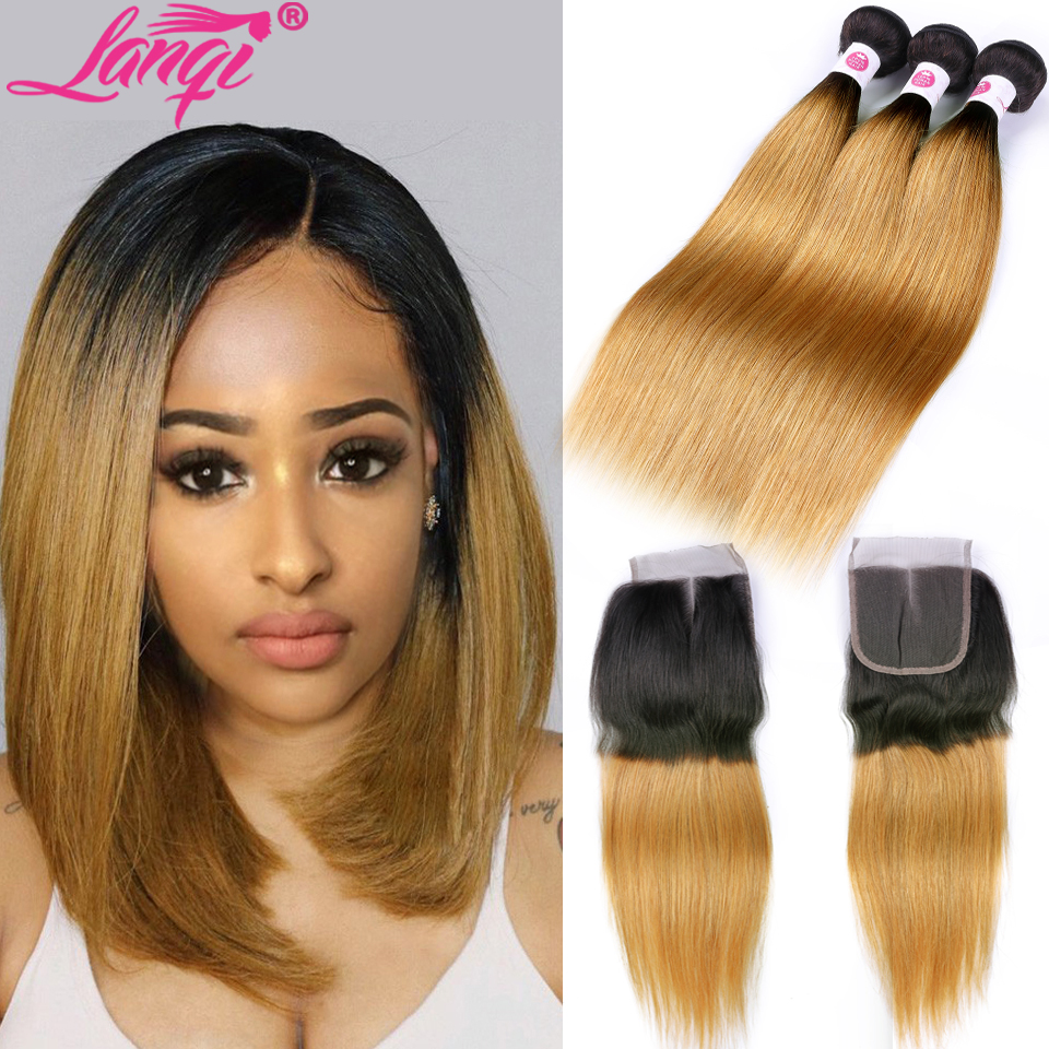 Brazilian Straight Human Hair Weave Bundles Non Remy Honey Blonde Bundles With Closure 1b/27 Burgundy Ombre Bundles With Closure