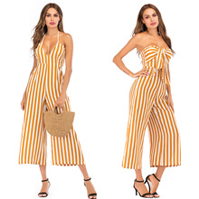 New Summer Sexy Off Shoulder Long Jumpsuit Romper Women Playsuit Rompers Striped Tube Top Bow Wide Leg