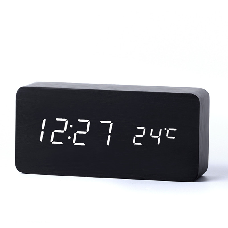 Antique Desktop ure med tre alarm gruppe LED Silent Clock Digital Watch Board Soveværelse Wooden Bamboo Despertador Home Decor