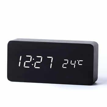 Antique Desktop Clocks With Three Alarm Group LED Silent Clock Digital Watch Board Bedroom Wooden Bamboo Despertador Home Decor - DISCOUNT ITEM  48% OFF All Category