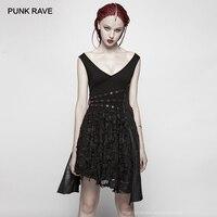 PUNK RAVE New Punk Deep V neckline Asymmetrical Fashion Dress Gothic Black Sleeveless Layered Laced Hem Synthetic Leather