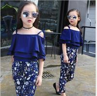 Girls Clothing Sets 2017 Summer New Fashion Girls Clothing Sets Kids Ladies Bow Lace Sleeveless Shirt