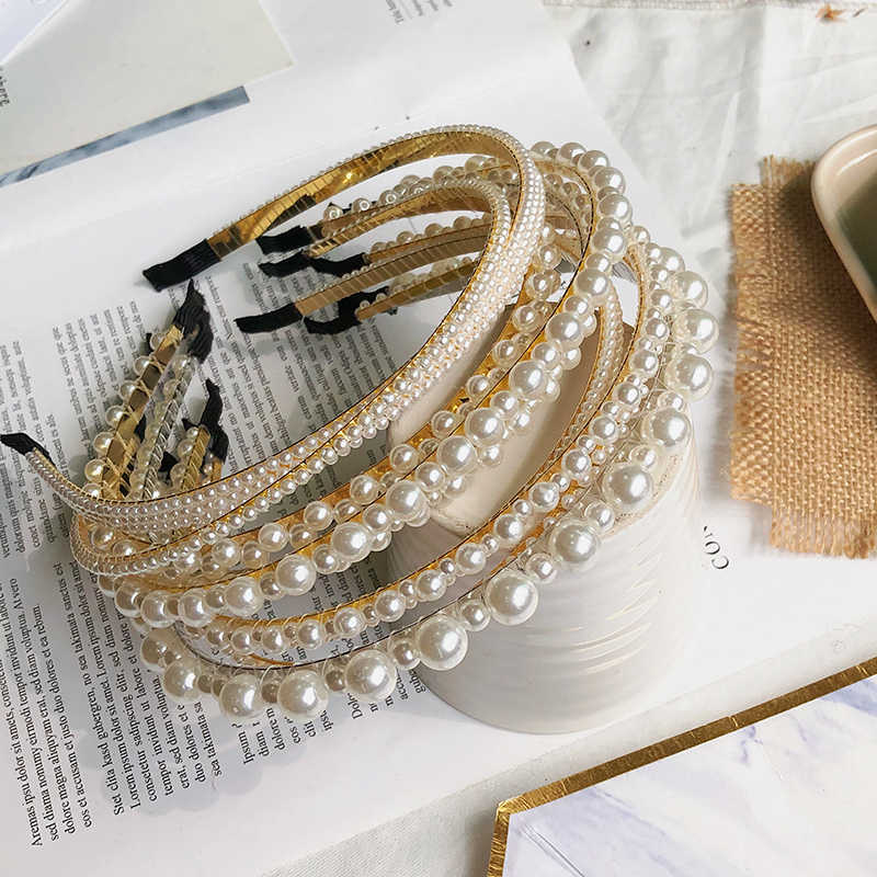 New Crystal Full Pearl Hairbands Elegant Women Girls Handmade Headband For Wedding Birthday Party Hair Accessories Ornaments