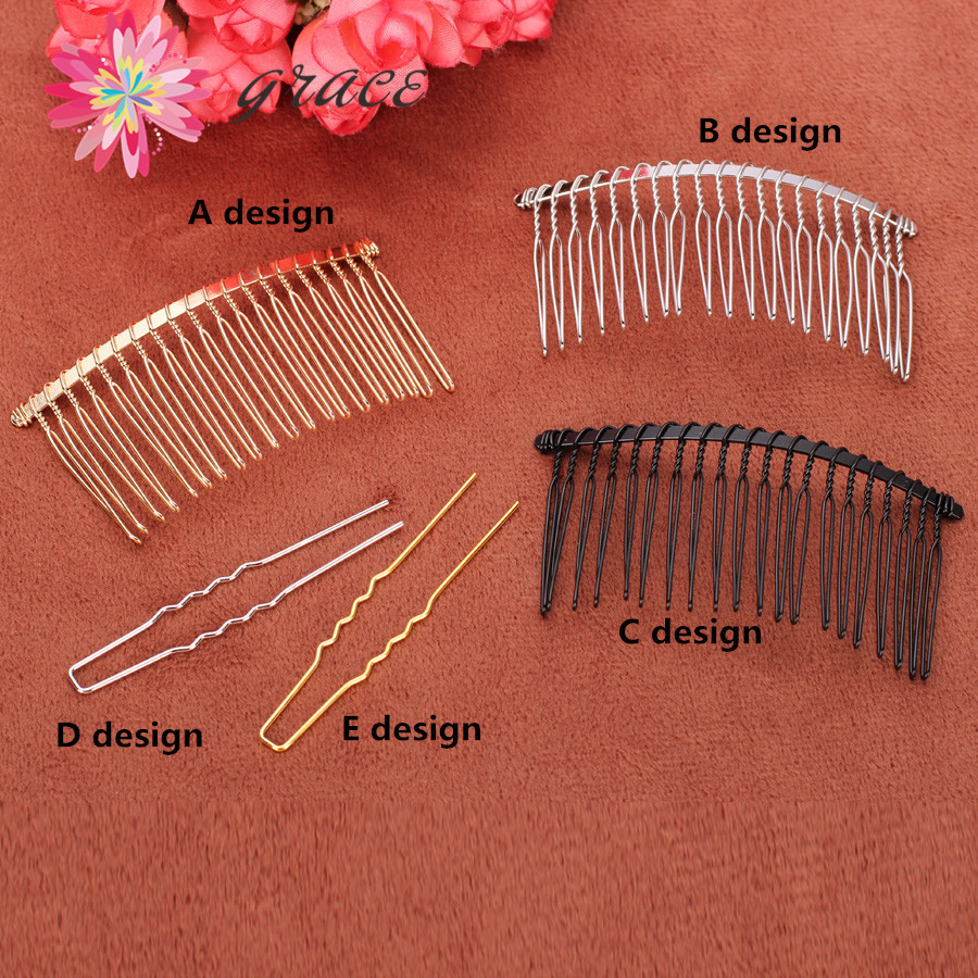 10pc/lots Black Metal Wire Teeth Hair Comb U Shape Bobby Pins Gold Plated For Diy Wedding Birdal Hair Jewelry Accessory Findings Jade White