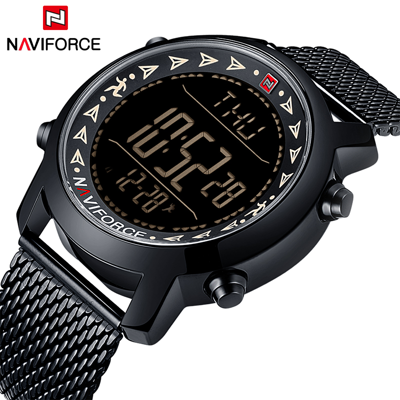 Top Brand NAVIFORCE New Men Full Steel Sport Watches Men's Quartz LED Digital Clock Man Military Wrist Watch Relogio Masculino iron man digital led steel band digital quartz wrist watch for man