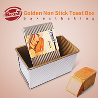 Bakest 450g toast box aluminum alloy gold corrugated baking mold for Baguette bread
