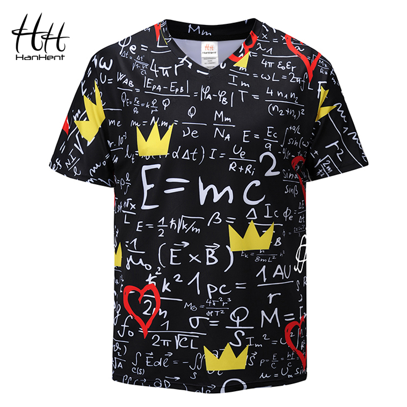 HanHent Funny Physics Formula Math   T     shirt   3D Print V-neck Men's   T  -  shirts   3D Loose Brand Streetwear Geek Tee   shirts   Men TD0007