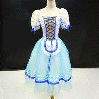 Customized Blue Ballet Costume Ballet Sex Dancing Girl Ballet Barre/ Giselle Ballet Dance Dresses Peasant Dancing Dress