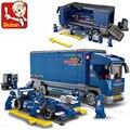 Совместимость с lego SLUBAN 0357 F2 гонки грузовик строительный блок комплект 3D строительного кирпича игрушки учебный корпус игрушек