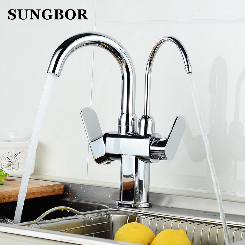 Copper Chrome Brushed Swivel Drinking Water Faucet 3 Way Water Filter Purifier Kitchen Faucets For Sinks Taps CF-9128L sognare 100% brass marble painting swivel drinking water faucet 3 way water filter purifier kitchen faucets for sinks taps d2111