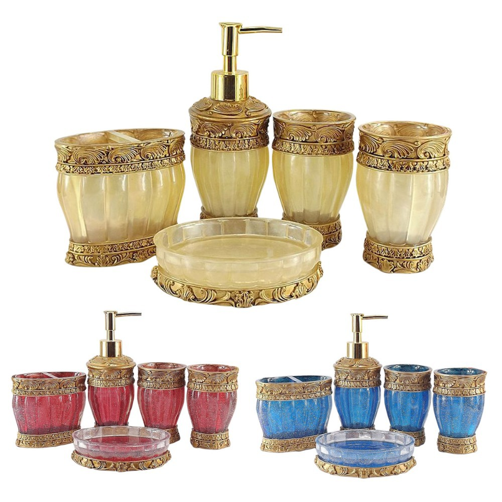 Gold bathroom accessories find and save appealing lino for Red and gold bathroom accessories