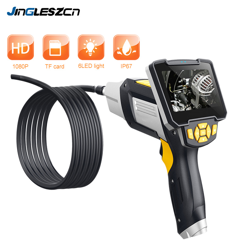 Digital Industrial Endoscope 4 3 inch LCD Borescope Videoscope with CMOS Sensor Semi Rigid Inspection Camera Handheld Endoscope in Surveillance Cameras from Security Protection