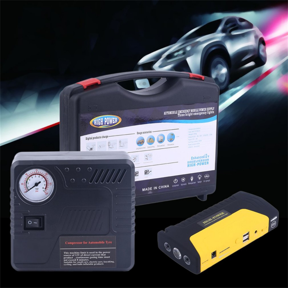 Newest 68800MAH Car Jump Starter USB Auto Engine Emergency Charger Booster Power Bank Battery With Air Pump Set Hot Selling newest 50800mah 12v car emergency start power bank vehicle jump starter booster portable current battery charger three light hot
