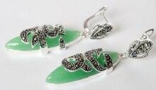 women jewelry Brincos earring Pendientes Natural Green Jade Amethyst pendientes long sterling silver earrings