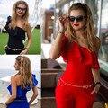 Sexy Lady Mulheres Cocktail Festa À Noite Um Ombro-Jumpsuit Romper Calças Compridas