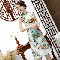 Chinese Traditional Women Rayon Aodai Dress Vintage Button Qipao Novelty Sexy Flower Short Stage Show Cheongsam Plus Size M 3XL