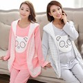Spring/autumn Cute Cotton maternity Nursing Clothes 3pcs/set(jacket+shirts+pants) Invisible Breastfeeding Mouth Pregnant Clothes
