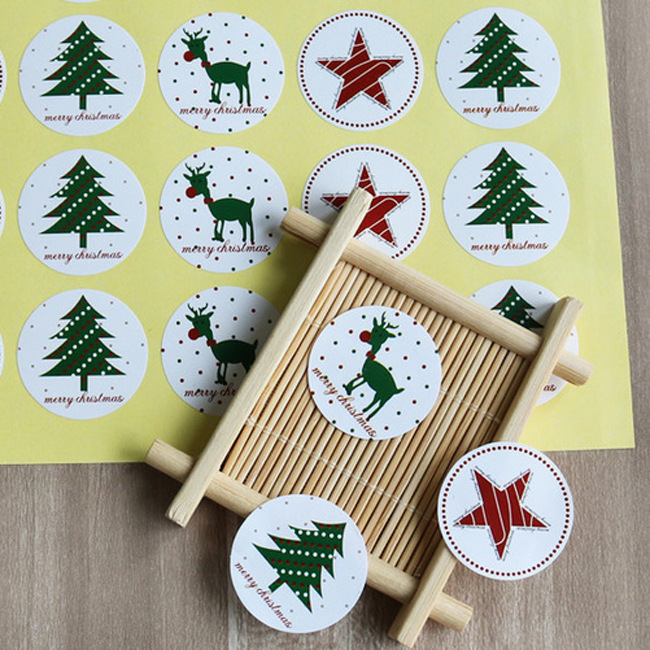 120Pcs/10Sheets Christmas Tree Deer Star Handmade Cake Packaging Sealing Label Kraft Sticker Baking DIY Gift Stickers M1416