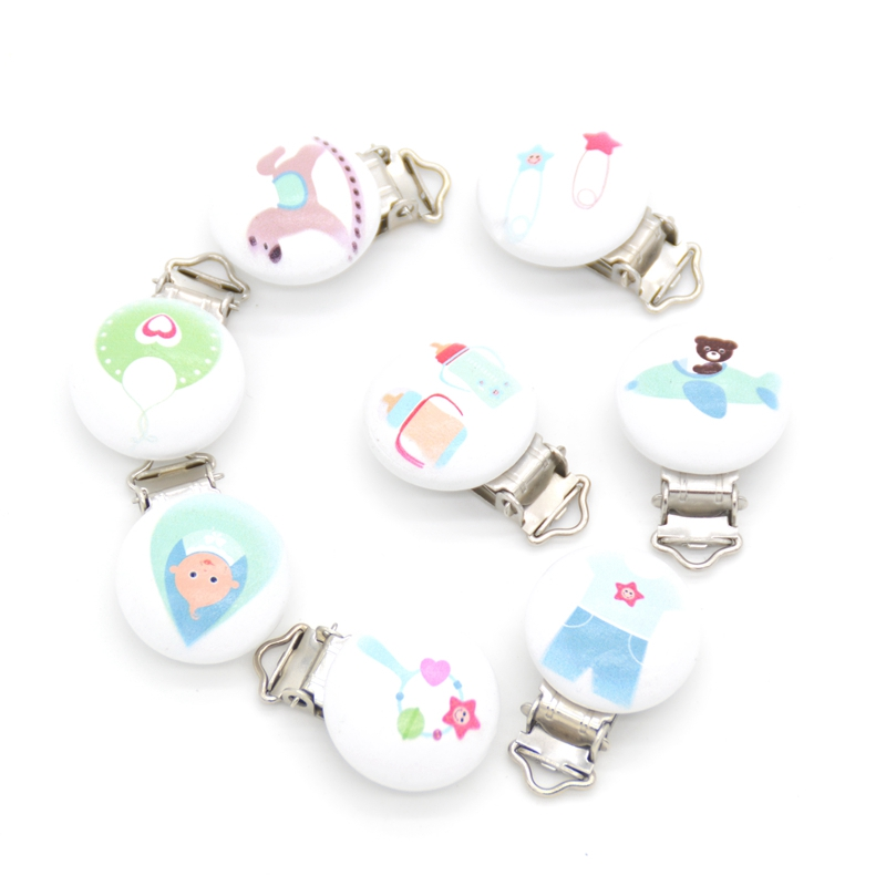 Image 5 - 20pcs/lot Football Wood Pacifier Clip Baby Teether Round Wooden Clips Animals Accessories Clip Clasps For Baby Product 8 Styles-in Pacifier from Mother & Kids