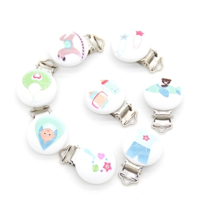 Image 5 - 20pcs/lot Football Wood Pacifier Clip Baby Teether Round Wooden Clips Animals Accessories Clip Clasps For Baby Product 8 Styles