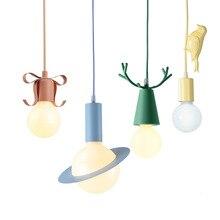 Nordic Colour Makaron E27 Pendant Light Bow Bird Ball Window Bedside Childrens Room Loft Style Lighting
