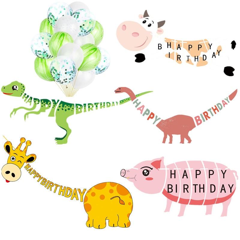 Cute Happy Birthday Banner Animal Dinosaur Giraffe Cow Pig