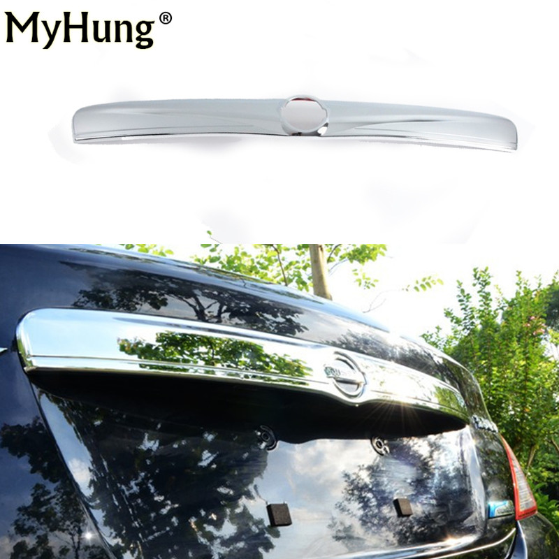 Car auto accessories Rear Trunk molding Lid Cover Trim rear trunk trim For Nissan Sunny Versa 2011 abs chrome 1pc per set car rear trunk security shield cargo cover for volkswagen vw golf 6 mk6 2008 09 2010 2011 2012 2013 high qualit auto accessories