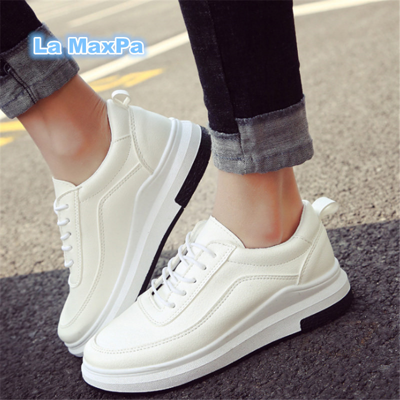 Women Sneakers 2018 Woman White Sport Shoes leather running shoes for woman waterproof Platform shoes Athletic Trainers EU 35-40
