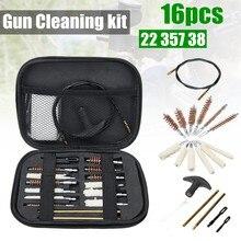 Kit universal para limpeza de armamentos, conjunto profissional com escova para arma, para rifles, pistolas, revólver, espingarda, acessórios de caça, 16 peças