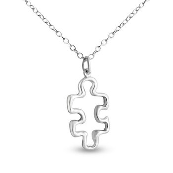 family Hollow Outline Puzzle Piece Necklace Autism Awareness Quote Jigsaw Mentor Teacher Mom Friends Meaningful Gift necklace image