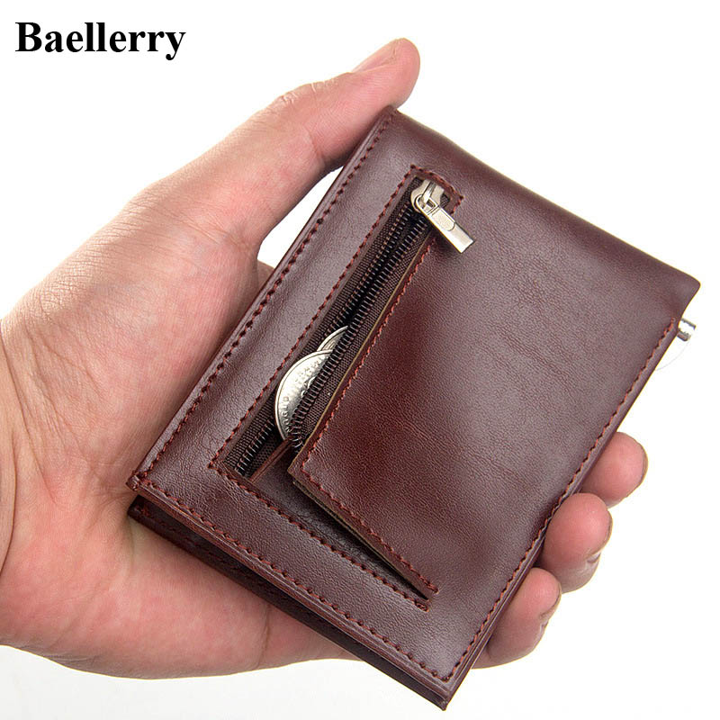 Brand Mini Leather Clip Wallets Men Casual Purse Male Money Bags Credit Card Holder Coin Zipper Pocket ID Card Case Small Wallet hot sale leather men s wallets famous brand casual short purses male small wallets cash card holder high quality money bags 2017