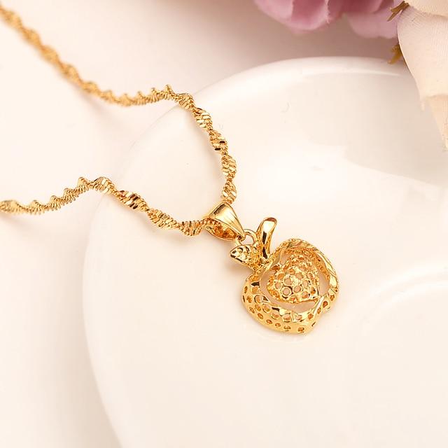 Aliexpress buy dubai india gold apple heart women ethiopian dubai india gold apple heart women ethiopian pendant necklace 18 k fine gold solid gf jewelry aloadofball Gallery