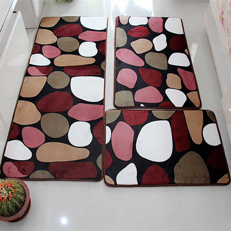 Soft Bath Mat Set Water Absorption Bathroom Carpet Rug Bathroom Mat Home Living Room Kitchen Door Floor Mat for Toilet Non-slip