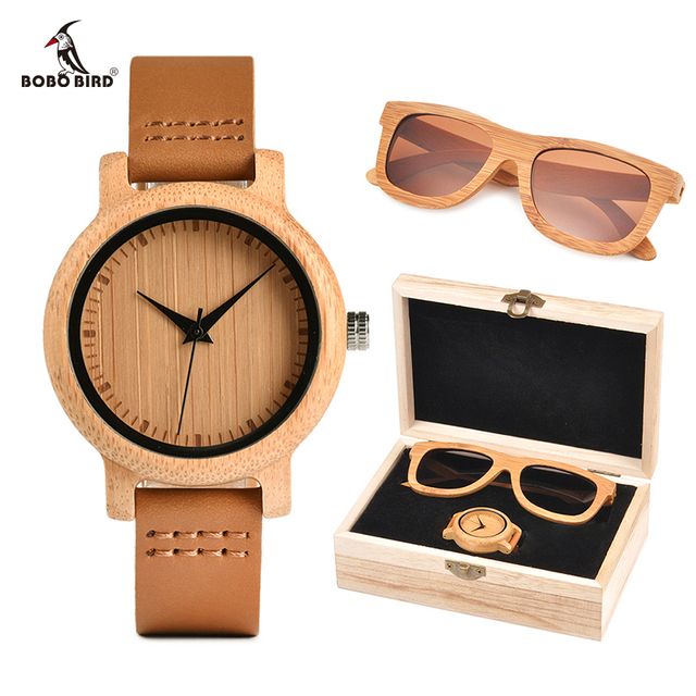 2018 BOBO BIRD Luxury Women Watches Sunglasses Suit Present Box Gift Set for Ladies relogio feminino Accept Logo Drop Shipping Women's Watches
