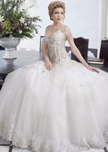 Luxurious Bride Dress Sexy V Neck Appliques Ball Gown Tulle Bridal Gown Formal Wedding Dress Long With Heavy Pearls MF644