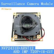 1MegaPixel 1280*720 AHD CCTV Camera Module Circuit Board , 1/4″ CMOS NVP2431H+ OV9712+ HD IR-CUT dual-filter switch