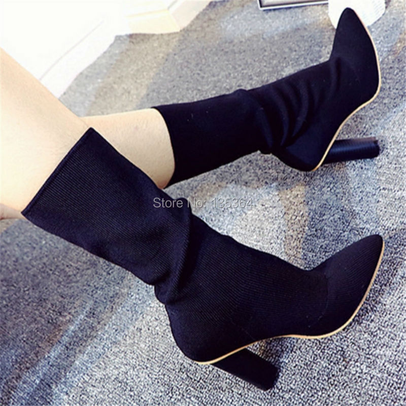 2017 New Style Autumn Winter Boots Stretch Fabric Women Pumps Shoes Wool Knitting Boots Ankle Boots High Heels Shoes Woman