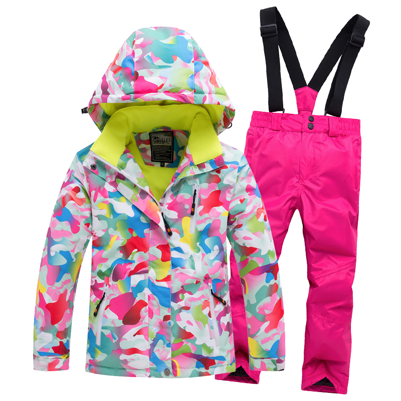 Winter Kids Sport Set Ski Suit For Children Print Flower Hooded  Children Down Suit Snowboard Jackets + Pants Two Piece Clothes
