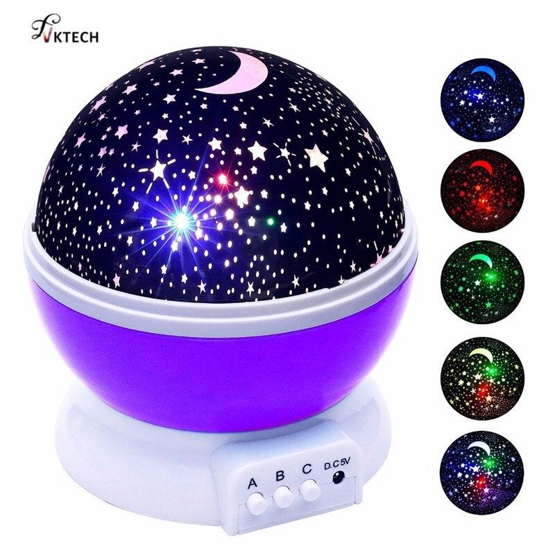 Estrellas cielo estrellado luz LED proyector lámpara de Luna batería USB dormitorio de proyección de los niños lámpara de noche