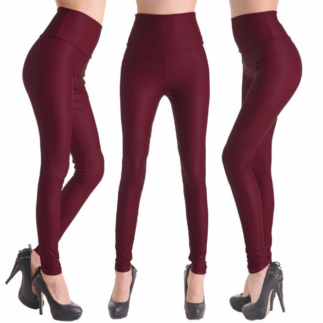 2017 New Women Sexy Leggings Faux Leather Stretch Legging High Waist Leggings Juniors Pants 4 size 21 Colors 10